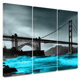 Crashing Waves, Golden Gate Bridge 3 Piece Gallery Wrapped Canvas Set Gallery Wrapped Canvas Set