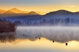 Italy, Umbria, Terni District, Piediluco Lake. Piediluco Village and Labro Village at Dawn. Photographic Print by Francesco Iacobelli