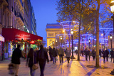 Xmas Decorations on Avenue Des Champs-Elysees with Arc De Triomphe in Background, Paris, France Photographic Print by Neil Farrin