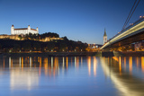 Bratislava Castle, St Martin's Cathedral and New Bridge at Dusk, Bratislava, Slovakia Photographic Print by Ian Trower