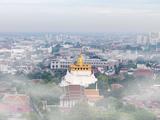 Thailand, Bangkok, the Golden Mount (Phu Khao Thong) at Wat Saket Shrouded in Fog Photographic Print by Shaun Egan