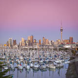 Westhaven Marina and City Skyline Illuminated at Dusk, Waitemata Harbour, Auckland, New Zealand Photographic Print by Doug Pearson