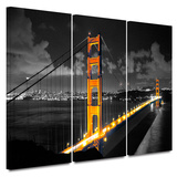 Golden Gate Bridge San Francisco 3 Piece Gallery Wrapped Canvas Set Gallery Wrapped Canvas Set