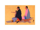 Two Women & Child Prints by Stephen Mopope