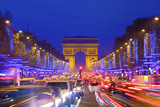 Arc De Triomphe and Xmas Decorations, Avenue Des Champs-Elysees, Paris, France Photographic Print by Neil Farrin