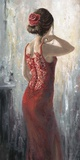 Red Lace, Red Rose Posters by Karen Wallis