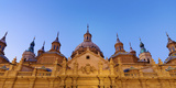 Spain, Aragon Region, Zaragoza, Basilica Del Pilar, Panorama at Dusk Photographic Print by Shaun Egan