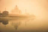India, Uttar Pradesh, Agra, Taj Mahal (Unesco Site), Yamuna River and Morning Mist Photographic Print by Michele Falzone