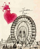 London Eye In Pen Print by Morgan Yamada