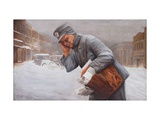 Postman In Storm Prints by Robert Byron Tabor