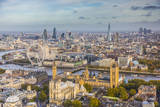 Aerial View from Helicopter, Houses of Parliament, River Thames, London, England Fotodruck von Jon Arnold