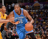 Feb 13, 2014, Oklahoma City Thunder vs Los Angeles Lakers - Wesley Johnson, Kevin Durant Photographic Print by Andrew Bernstein