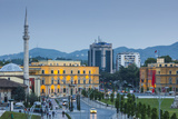 Albania, Tirana, Skanderbeg Square, Elevated View, Dusk Photographic Print by Walter Bibikow