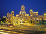 Plaza De Cibeles Illuminated at Night, Madrid, Spain, Europe Photographic Print by Marco Simoni