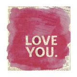 Love You Newsprint Giclee Print by Evangeline Taylor