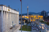 Albania, Tirana, Skanderbeg Square and Opera Building, Dusk Photographic Print by Walter Bibikow