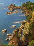 Spain, Catalonia, Costa Brava, Tossa De Mar, Overview of Bay Photographic Print by Shaun Egan