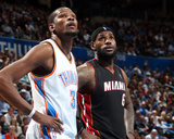 Feb 20, 2014, Miami Heat vs Oklahoma City Thunder - LeBron James, Kevin Durant Photographic Print by Layne Murdoch