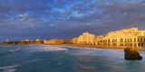 France, Biarritz, Pyrenees-Atlantique, Panorama of Grand Plage at Sunset Photographic Print by Shaun Egan