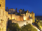 France, Languedoc, Carcassonne, Walled City at Night Photographic Print by Shaun Egan
