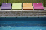 Colored Chairs at Pool Edge Photographic Print by Laetitia Julien