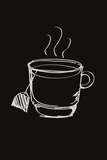 Illustration of a Cup of Tea on Black Background Photographic Print by Laetitia Julien