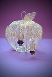 Earrings on a Silver Apple on Purple Background Photographic Print by Laetitia Julien