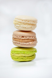 Trio of Vanilla Coffee and Pistachio Macaroons Photographic Print by Laetitia Julien