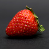 Strawberry Isolated on Black Background Squared Photographic Print by Laetitia Julien