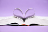 Pages of Book Heart Background Violet Photographic Print by Laetitia Julien
