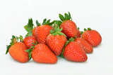 Several Strawberries on White Background Photographic Print by Laetitia Julien