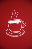 Illustration of Coffee Cup on Red Background Photographic Print by Laetitia Julien