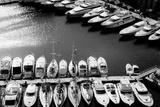 White Boats Stored in the Bay of Port Monaco, Black and White Photographic Print by Laetitia Julien