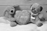Two Teddy Bears and a Wooden Heart 'I Miss You' Black and White Photographic Print by Laetitia Julien