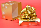 Open Box with Gold Ribbon Cover Photographic Print by Laetitia Julien