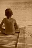 Learning of a Boy Fishing Reproduction photographique par Laetitia Julien