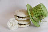 Two Macaroons with a Small White Flower and a Little Green Hat Photographic Print by Laetitia Julien