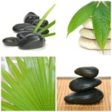 Composition Zen Green Bamboo and Black Stones Photographic Print by Laetitia Julien