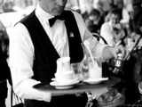 A Garçon de Cafe at the Cafe de Flore Photographie par Leon Le Baron