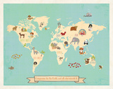 Global Compassion Map poster Kunstdrucke von Rebecca Peragine