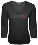 Juniors: Clemson Tigers V-neck with Crystal Embellished Logo Shirt