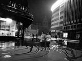 Two Serbian Women Walking Along a Street at Night, Belgrade Fotodruck