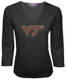 Juniors: Virginia Tech Hokies V-neck with Crystal Embellished Logo T-Shirt