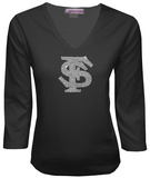 Juniors: Florida State Seminoles V-neck with Crystal Embellished Logo T-Shirt