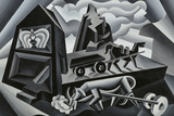 Dawn and Sunset on the Alps (Ploughing) Gicléetryck av Fortunato Depero