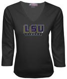 Juniors: LSU Tigers V-neck with Crystal Embellished Logo Shirts