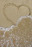 Heart in the Sand Cleared by the Wavelet Fotografiskt tryck av Laetitia Julien
