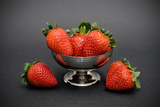Strawberries in a Silver Cup on Black Background Photographic Print by Laetitia Julien