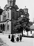Some Serbian People Strolling in Front of a Church, Belgrade Fotodruck