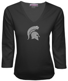 Juniors: Michigan State Spartans V-neck with Crystal Embellished Logo Shirt